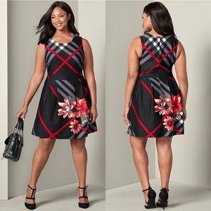 Venus Plaid Floral Printed Fit & Flare Dress